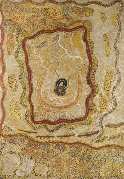 Water man at Kalpinypa , Johnny Warangkula Tjupurrula (ca. 1925-2001), 1973, Papunya, Western Desert, Northern Territory, Australia, Acrylic paint with concrete glue on hardboard (masonite), 102 cm x 71 cm, © Vincent Girier-Dufournier/Fondation Opale