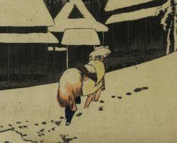 Detail: 'Kanbara – Night snow', 1831-1834, Hiroshige